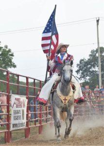 Kaitlin with U.S. flag.