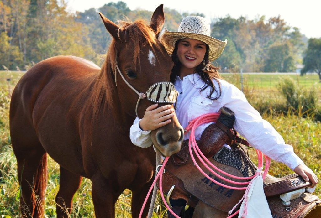 Kaitlin with Saddle and horse.