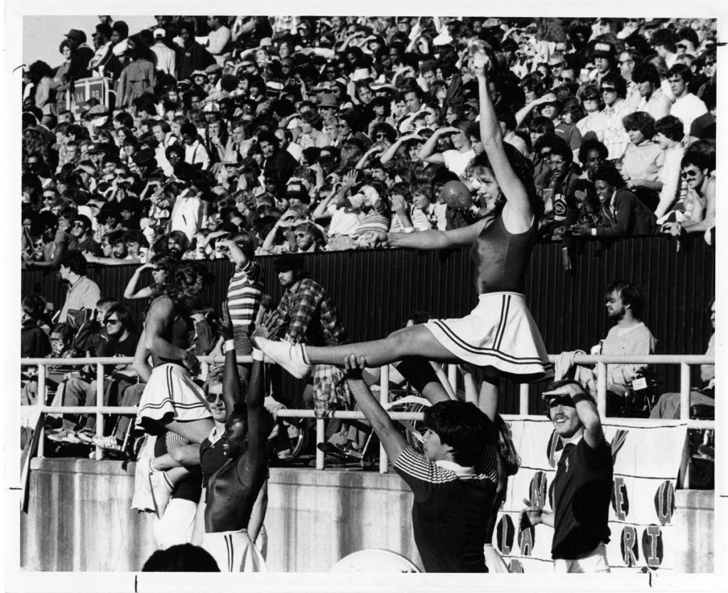 Picture of SIU cheerleaders at the 1978 Homecoming football game.