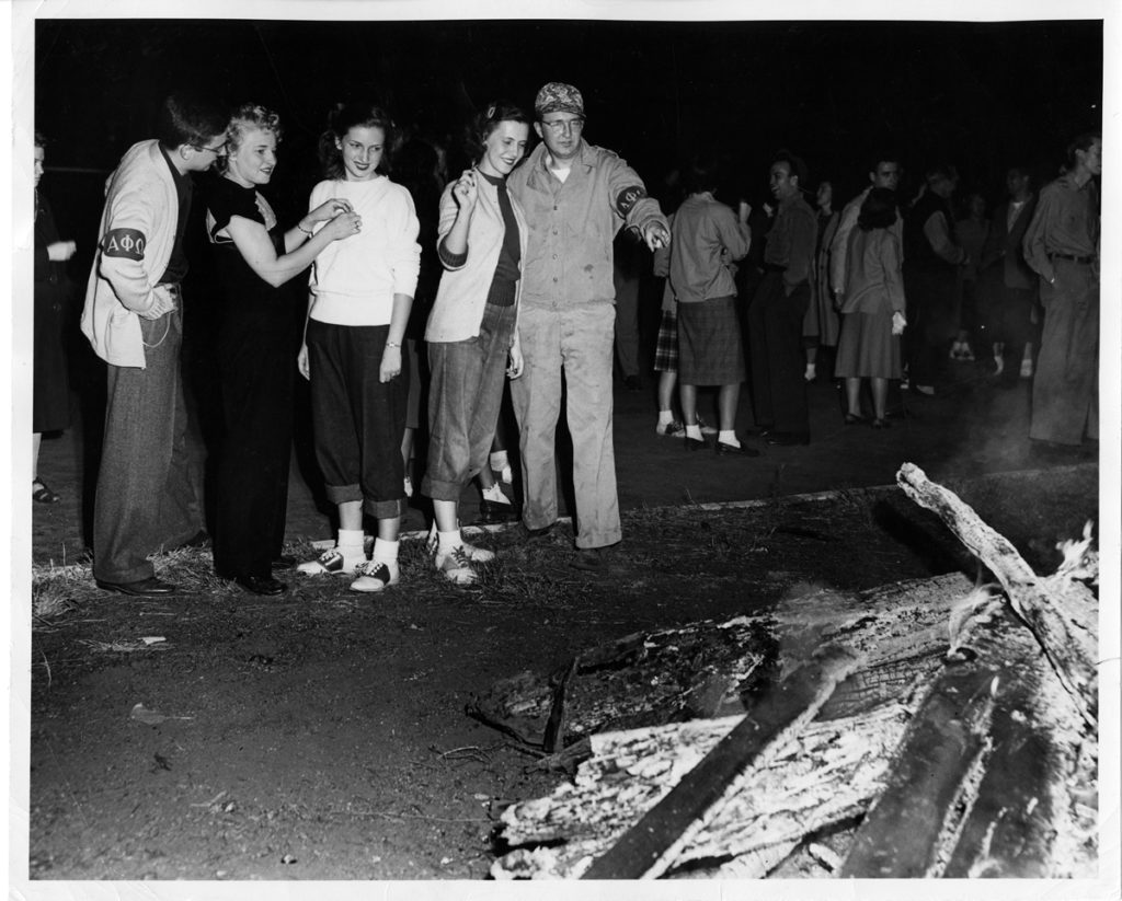 Picture of homecoming bonfire in 1948.