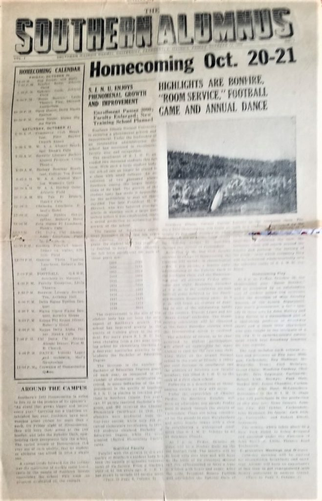 """The front page of the October 1939 Homecoming edition of the """"Southern Alumnus."""""""