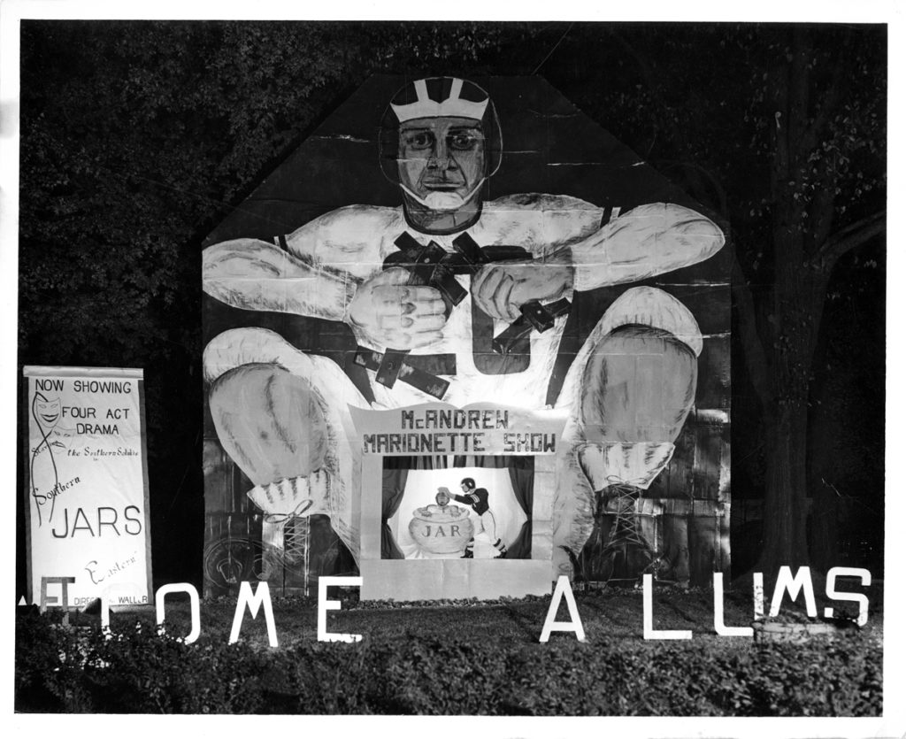 Picture of a house decorated for homecoming in 1951.