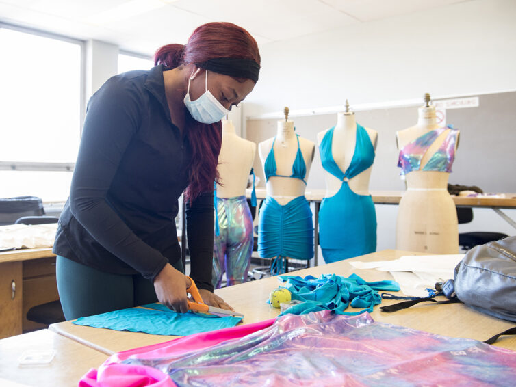Fashion design students show off styles, even without a runway